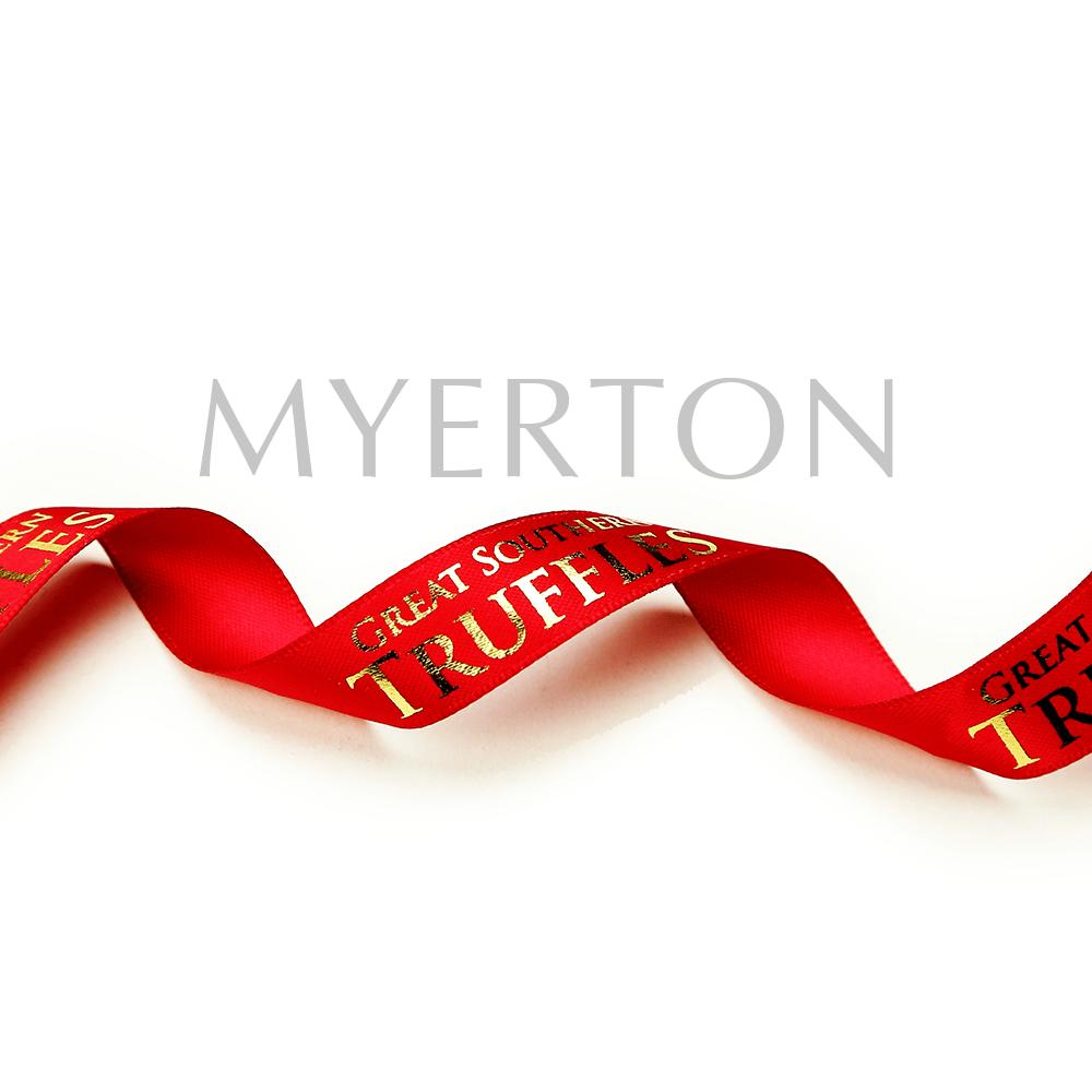 Foil Stamping custom printed satin ribbon Myerton Packaging