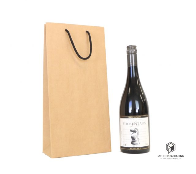 double wine bag - kraft