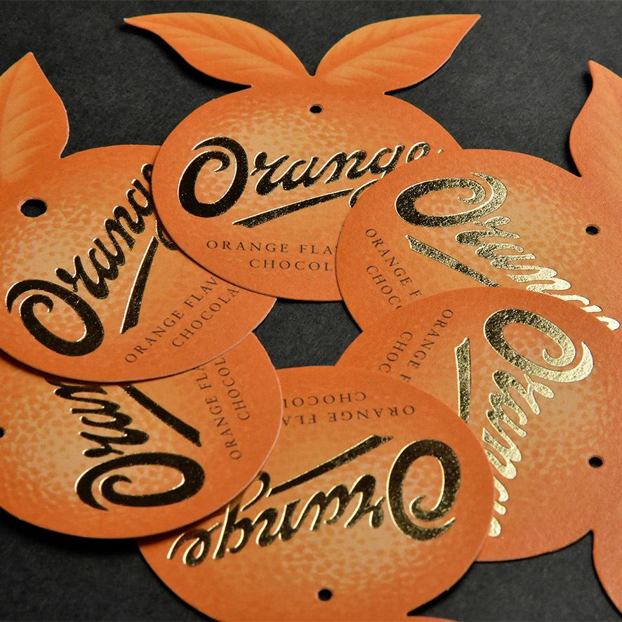 orange tag made from orange